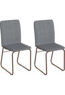 Conjunto Com 2 Cadeiras Hawke Marrom E Cobre