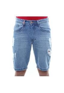 Bermuda Jeans Masculina Destroyed Confort Crocker - 47763