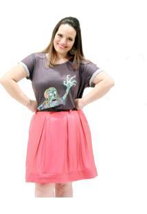 Camiseta Garota Zumbi Plus Size Cinza