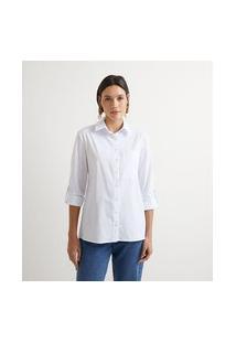 Camisa Manga Longa Em Algodão Sem Estampa E Com Bolsinho Frontal   Marfinno   Branco   Gg