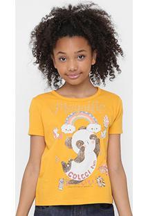 ebcdc49b5 Camiseta Infantil Colcci Fun Estampada Feminina - Feminino-Amarelo