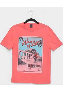 Camiseta Juvenil Fico Summer Manga Curta Masculina - Masculino