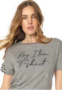 Camiseta Lunender Glitter Tachas Cinza - Kanui
