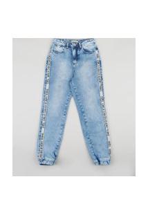 Calça Jeans Juvenil Jogger Com Tira Lateral Azul Médio