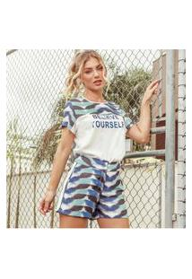 Camiseta Fashion4You Manga Curta Estampada Branco/Azul