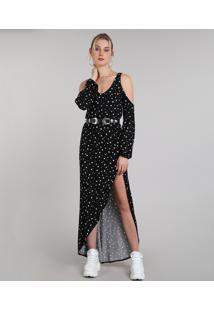 Vestido Feminino Longo Open Shoulder Estampado De Estrelas Manga Longa Preto