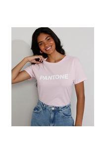Camiseta Feminina Manga Curta Pantone Decote Redondo Rosa Claro