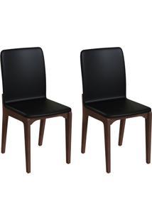 Conjunto Com 2 Cadeiras Darwin Preto E Café