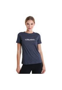 Camiseta Feminina Líquido Mescla - Azul Marinho - Líquido