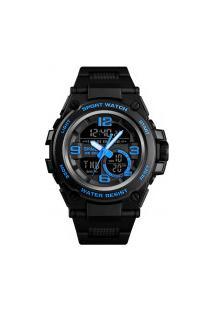 Relógio Skmei Digital -1452- Preto E Azul