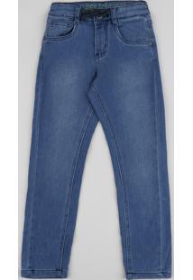 Calça Jeans Infantil Skinny Com Cordões Azul