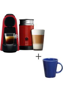 Cafeteira Nespresso Essenza Vermelho - A3Nrd30-Br-110V + Canecas Basic Em Ceramica, 04 Pecas Azul Navy - Porto Brasil