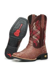 Bota Texana Country Click Calçados Cano Longo Em Couro Bordado Linhas