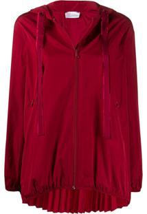 Redvalentino A-Line Pleated Zipped Jacket - Vermelho