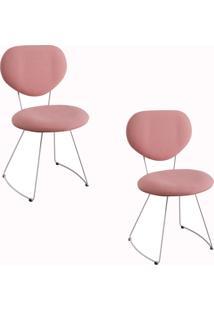 Kit 2 Cadeiras Gran Belo Mauritânia Linho Rosa