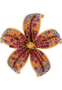 Versace Broche De Flor Com Cristais - Dourado