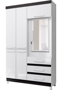 Guarda-Roupa Solteiro Com Espelho Fusion Solteiro 6Pt Branco E Preto