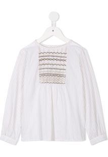Bonpoint Camisa Listrada 'Juliette' - Branco