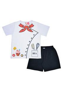 Pijama Infantil Masculino Branco E Preto Mini Chef (4 A 6 Anos) - Masquerade - Tamanho M - Branco,Preto