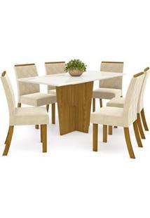 Sala De Jantar Mesa Retangular Vértice 160Cm Com 6 Cadeiras Vita Natur