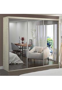 Guarda-Roupa Casal 3 Portas De Espelho 100% Mdf 1987E3 Marfim Areia - Foscarini