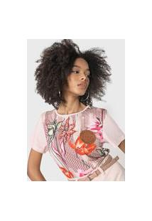 Camiseta Lança Perfume Floral Tag Rosa