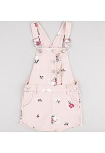 Jardineira De Sarja Infantil Estampada Floral Rosê