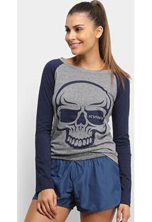 Camiseta Raglan Kvra Full Skull Feminina - Feminino-Mescla+Marinho