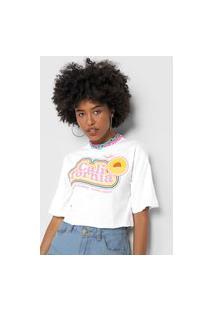 Camiseta Cropped Forever 21 Califórnia Branca