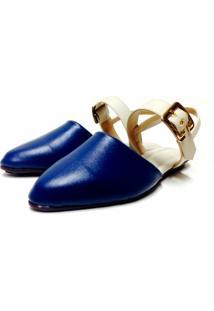 Sapatilha Buffone Comfort Bico Fino Azul Marinho