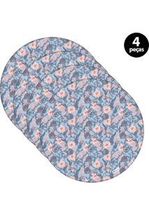 Capa Para Sousplat Mdecore Floral Azul 4Pçs
