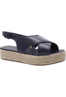Sandália Flatform Tiras Cruzadas Azul Marinho | Anacapri