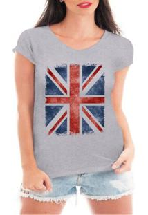 Camiseta Criativa Urbana Bandeira De Londres - Feminino-Cinza