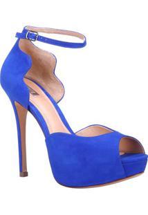 Sandã¡Lia Meia Pata Em Couro- Azul- Salto: 12Cmschutz