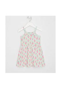 Vestido Infantil Alças Flamingos Com Minipompons - Tam 1 A 4 Anos   Póim (1 A 5 Anos)   Verde   03