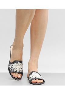 Rasteira Shoestock Slide Bordado Flores - Feminino-Preto