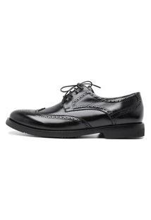 Sapato Masculino Derby Brogue Centuria Tamanho Especial Couro Preto