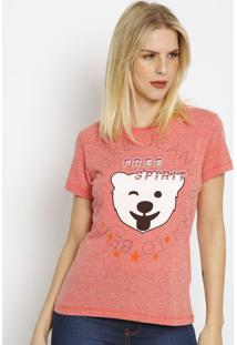 "Camiseta ""Free Spirit""- Vermelho Claro & Branca- Coccoca-Cola"