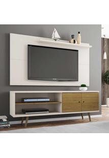 Rack Com Painel Para Tv Até 50 Polegadas Onix Off White/Cinamomo - Bechara Móveis