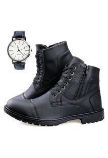 Bota Casual Neway Ziper Preta + Relógio Preto