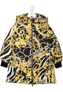 Young Versace Baroque Print Padded Coat - Preto