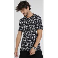 57616d08f7070 Camiseta Masculina Estampada De Caveiras Manga Curta Gola Careca Preta