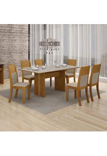 Conjunto De Mesa De Jantar Florença Com 6 Cadeiras Havai Linho Imbuia Mel Off White