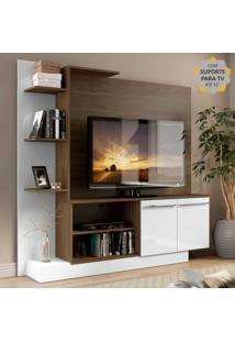 Estante Home Theater Com Suporte Para Tv Atã© 55'' Denver Multimã³Veis Madeirado/Branco - Incolor - Dafiti
