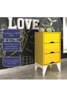 Criado Mudo 3 Gavetas Retrô Twister Tcil Móveis Amarelo
