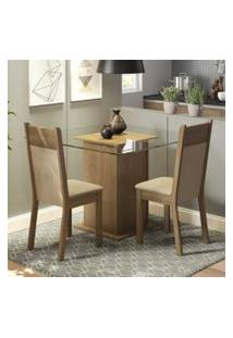 Conjunto Sala De Jantar Madesa Moni Mesa Tampo De Vidro Com 2 Cadeiras Rustic/Crema/Pérola
