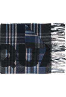 Dsquared2 Cachecol Xadrez Com Logo - Azul