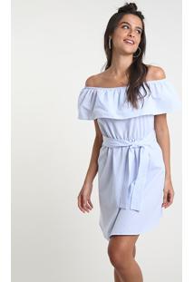 Vestido Feminino Bbb Curto Ciganinha Listrado Com Faixa Para Amarrar Manga Curta Azul