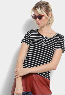Camiseta Top Moda Listrada Feminina - Feminino-Preto+Branco