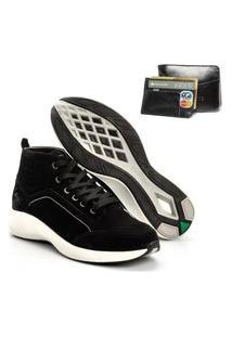 Tenis Masculino Em Couro Jhon Boots Yeeze Sneakers Preto + Carteira Em Couro